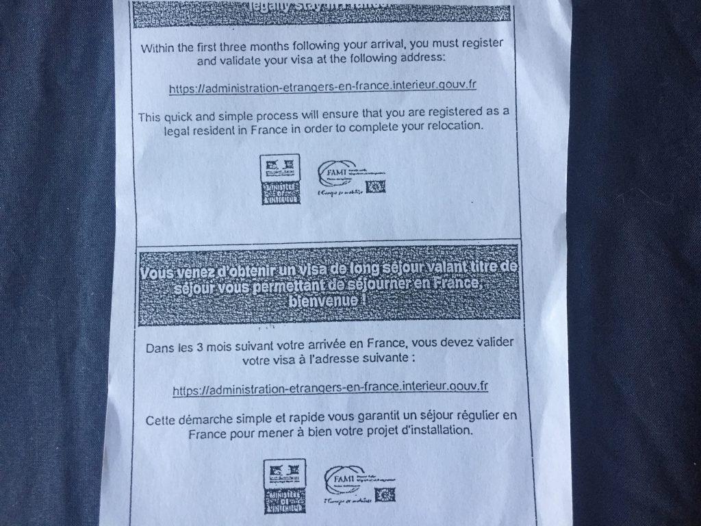 long stay visa validation procedure for France