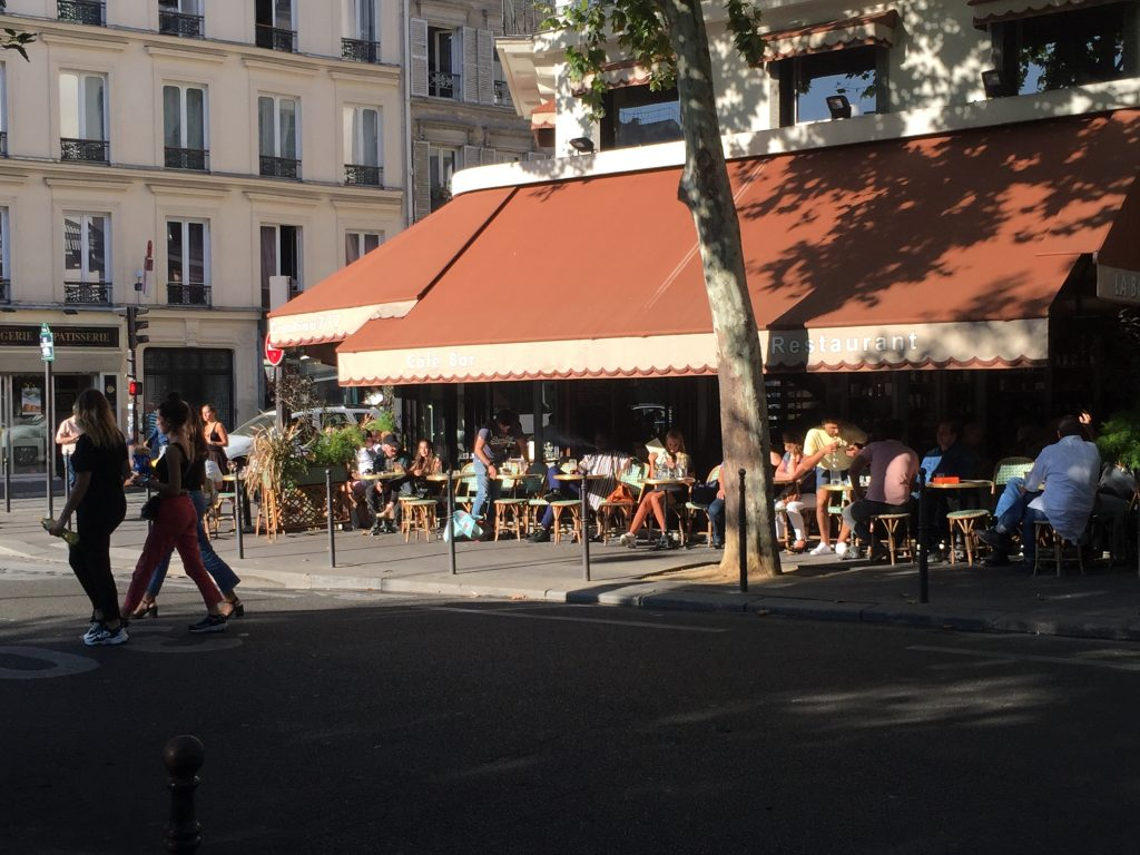 outdoor seating for happy hour in Paris