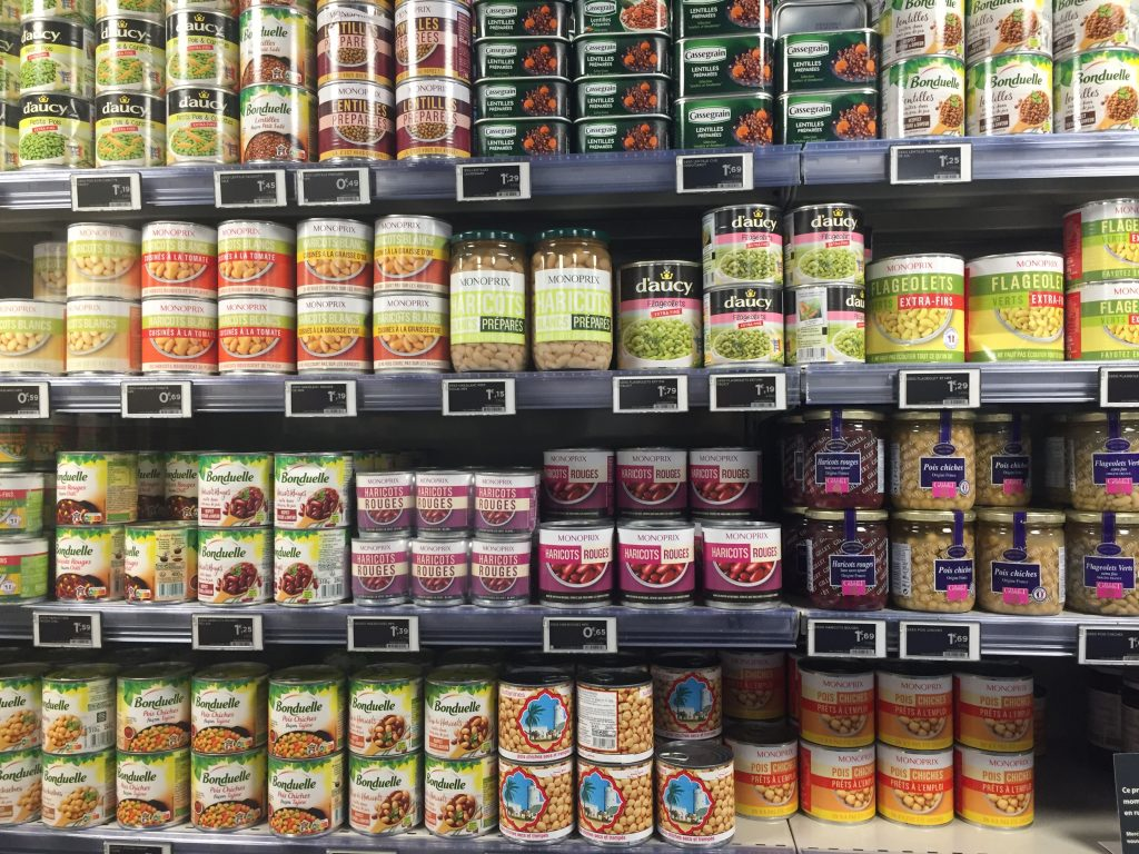 canned bean selection in Paris grocery store