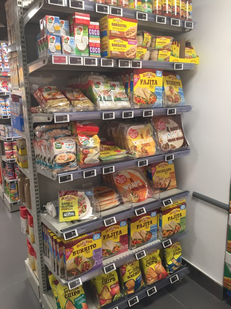Mexican selection in Paris grocery store