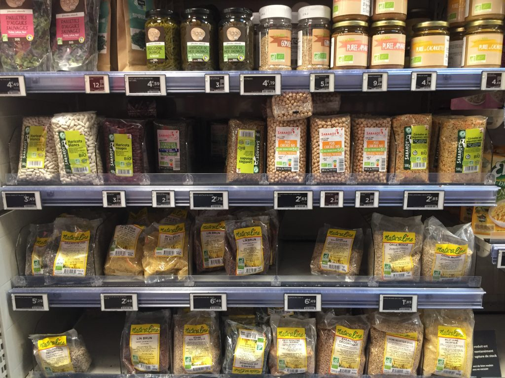 dried beans and grains selection in Paris grocery store