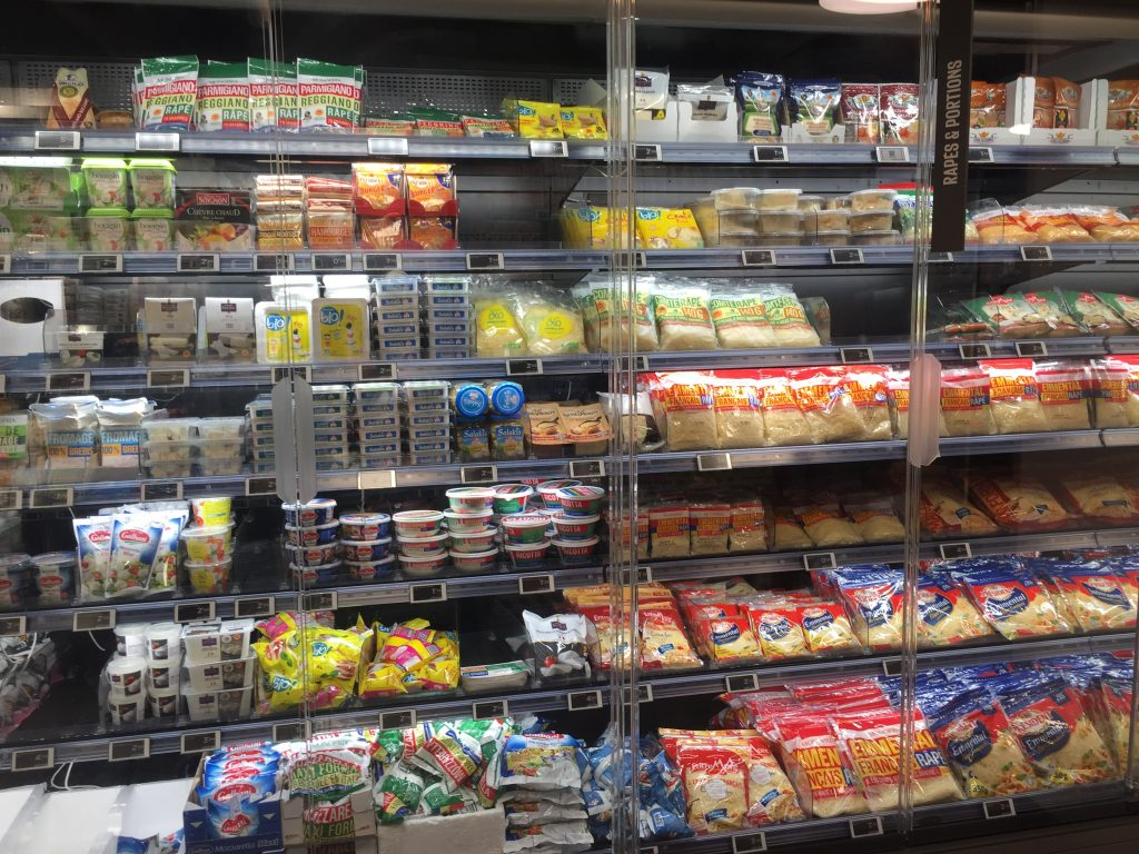 cheese selection in paris grocery store