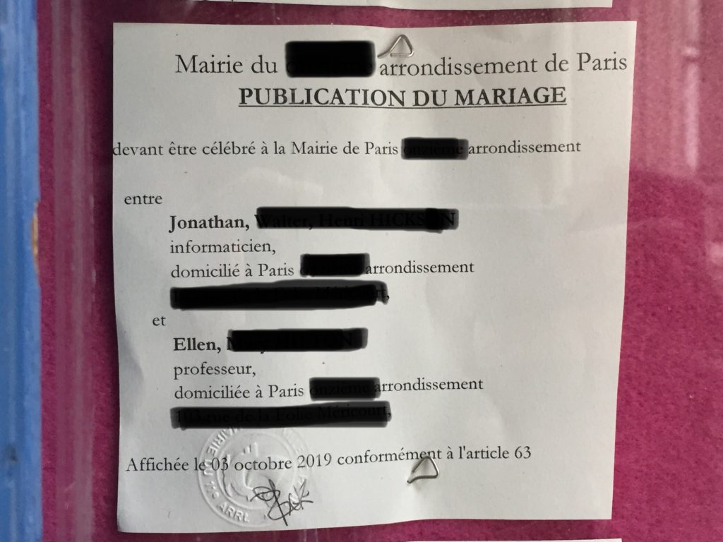 French wedding banns displayed in town hall