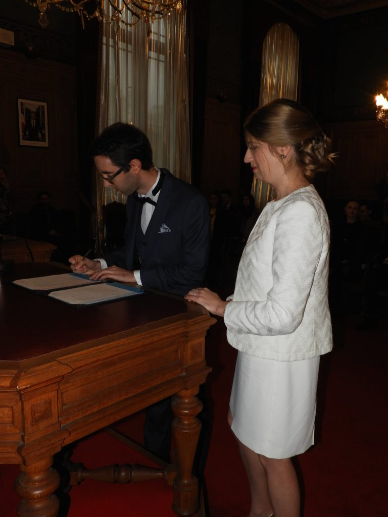 French civil ceremony signing documents