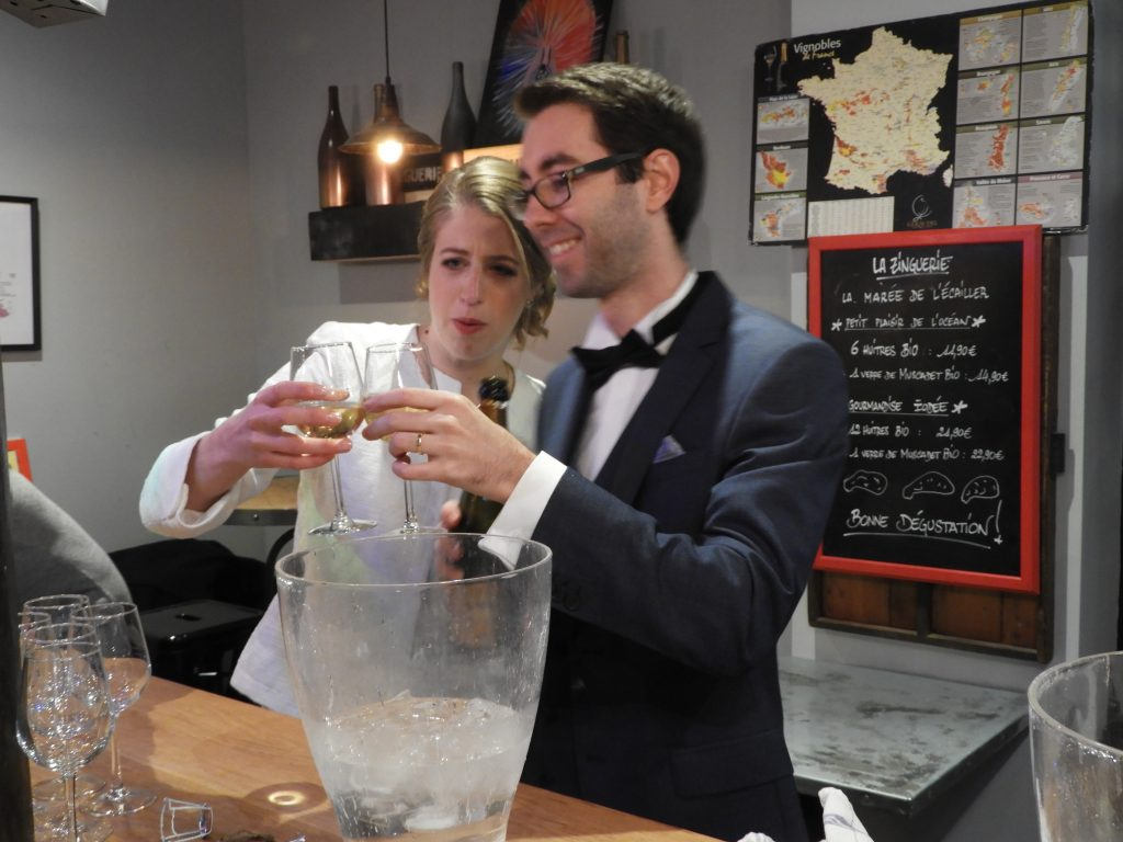 French wedding drinking champagne