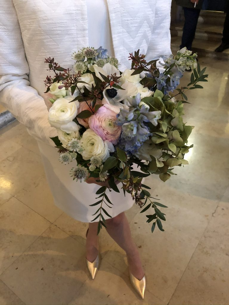 French wedding bouquet at city hall