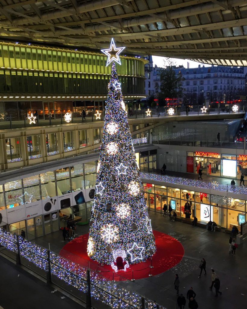 Christmas tree light up at Les Halles