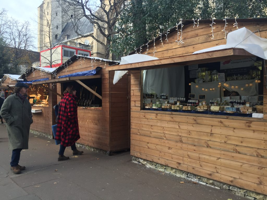 chalets at Paris Christmas market