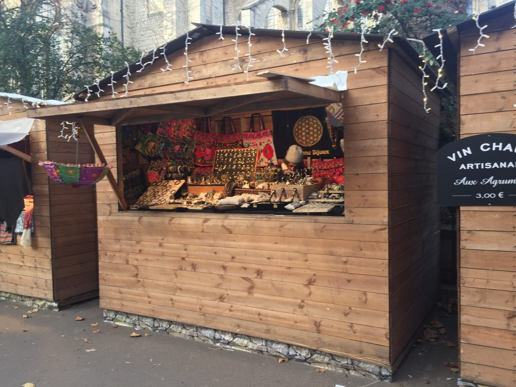 chalets in French Christmas market