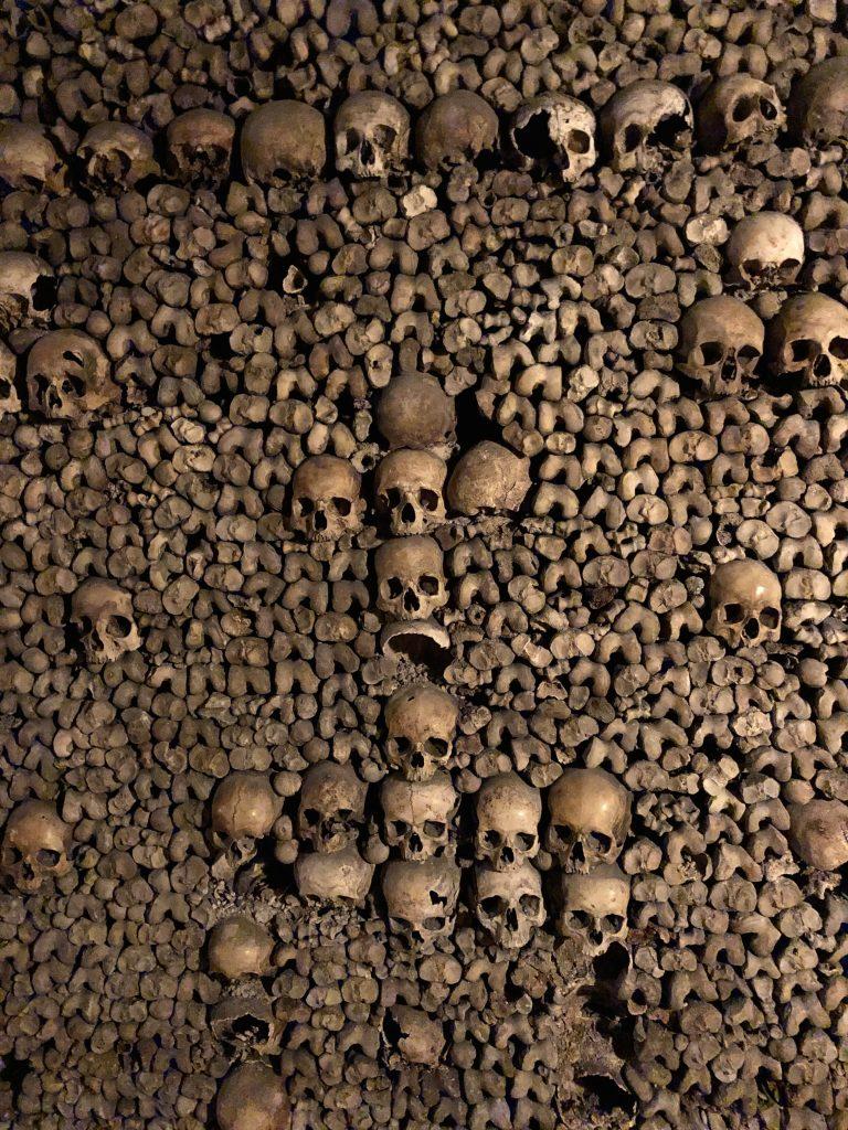 Paris catacombes bones stacked