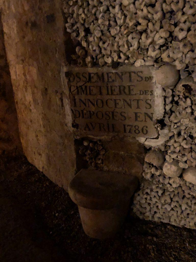Paris Catacombes bones and seat