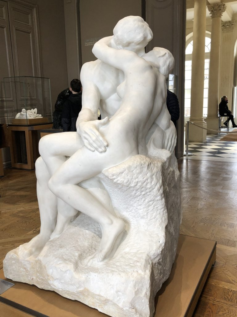 Rodin sculpture of lovers kissing