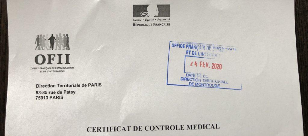 OFII Certificat de controle medical
