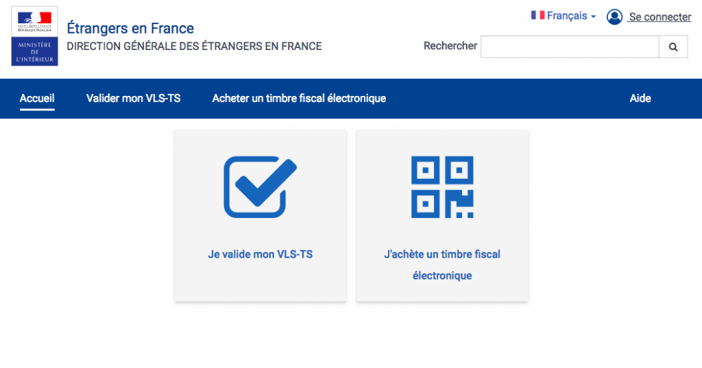 screenshot of French visa validation website