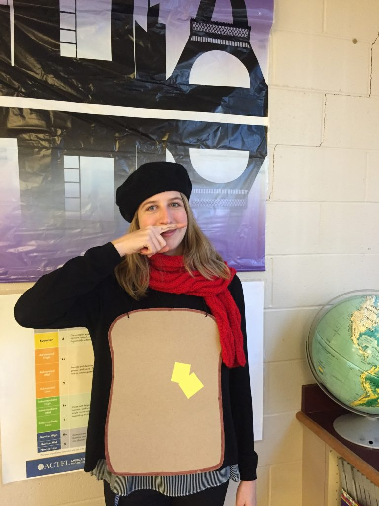 French teacher dressed up for Halloween as French toast