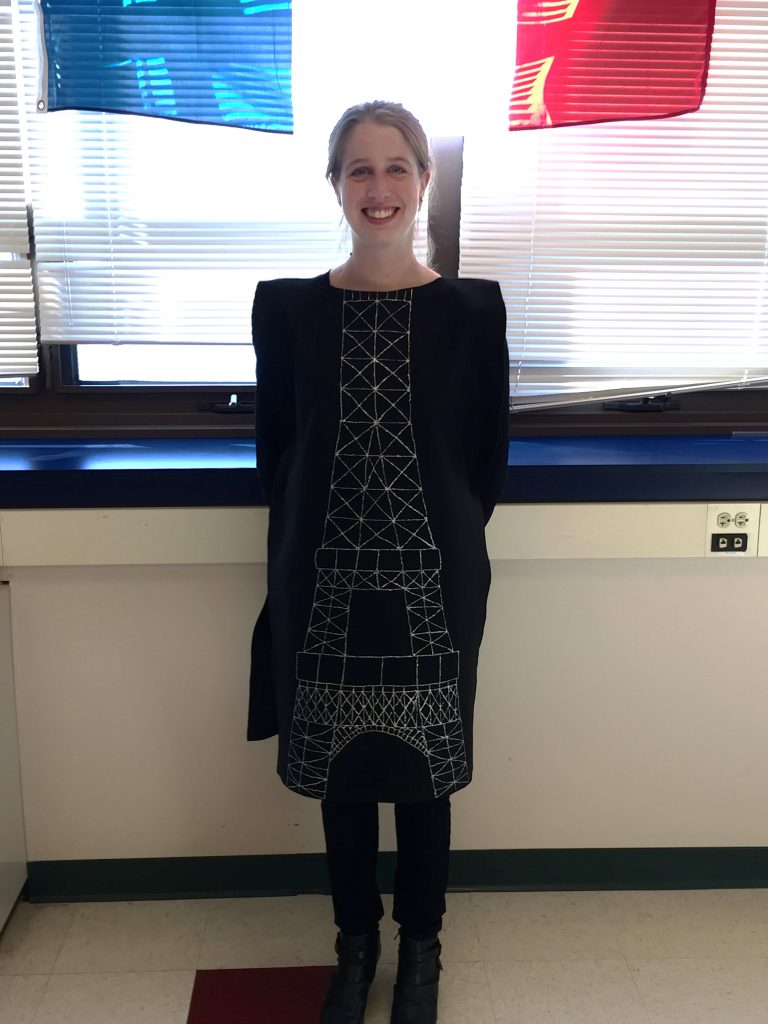 French teacher dressed up for Halloween as an Eiffel Tower
