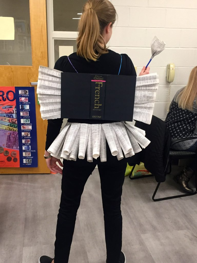 French teacher dressed up for Halloween as diction-fairy
