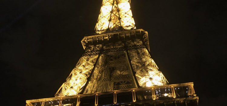 Eiffel Tower illuminated at night