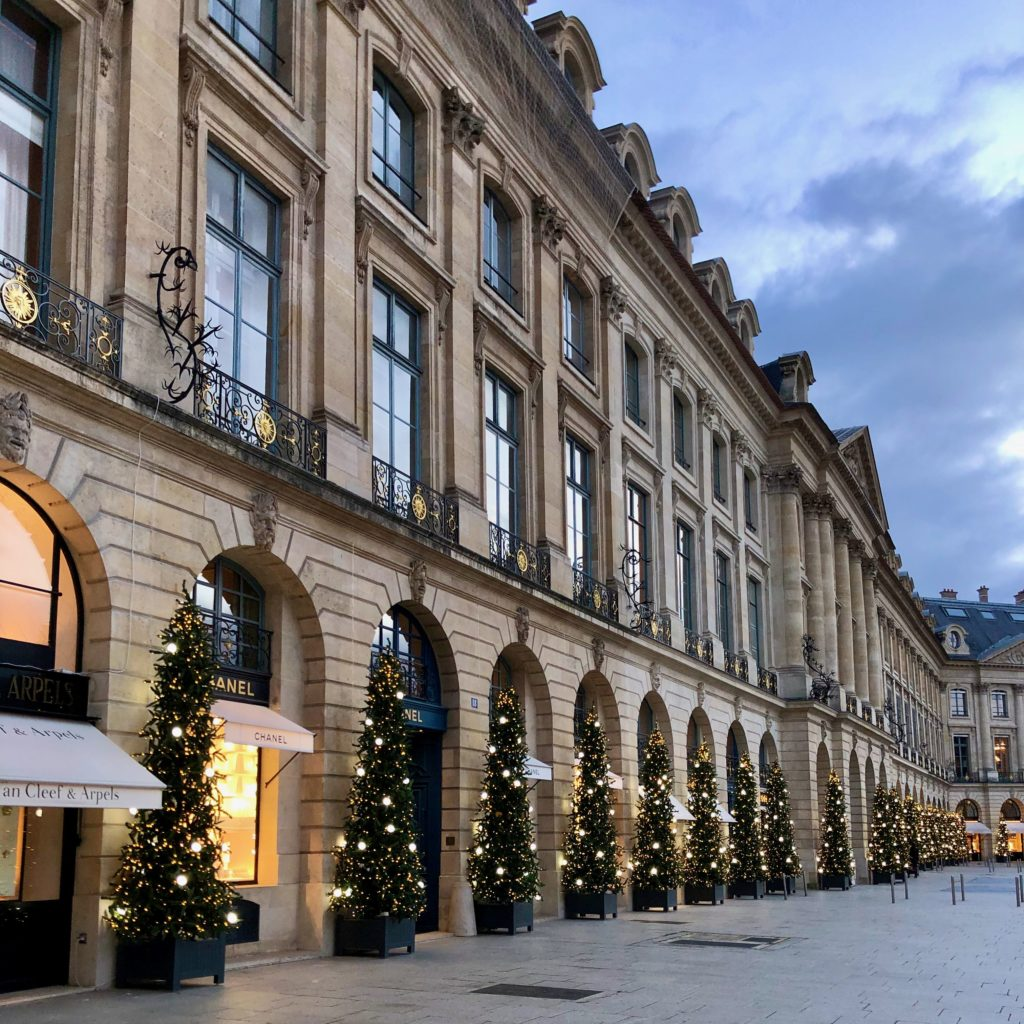 Place Vendôme lined with Christmas trees 2020