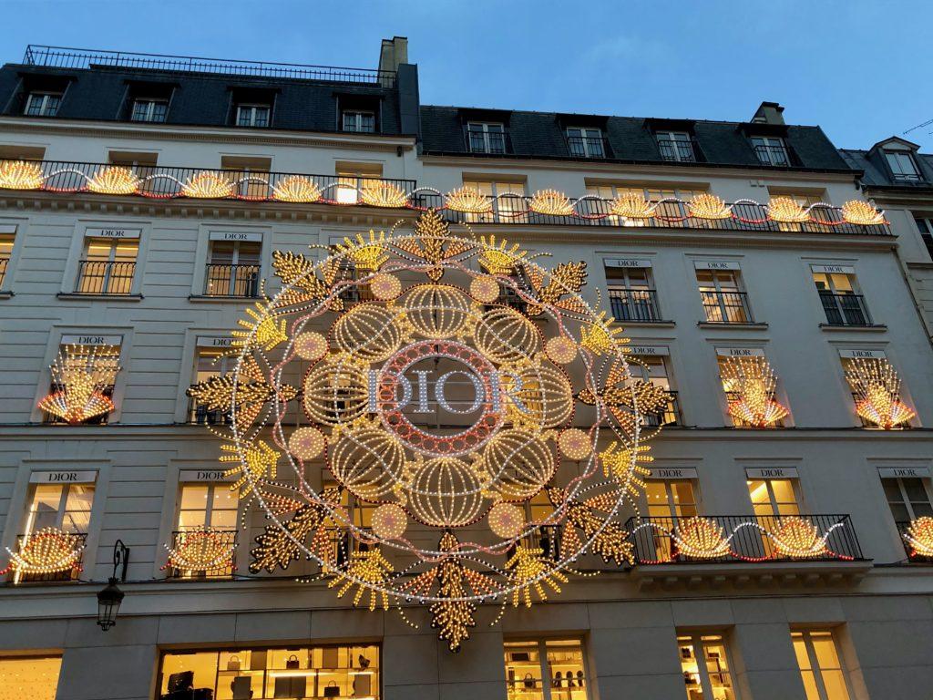 Dior Paris Saint Honoré lit up for Christmas 2020