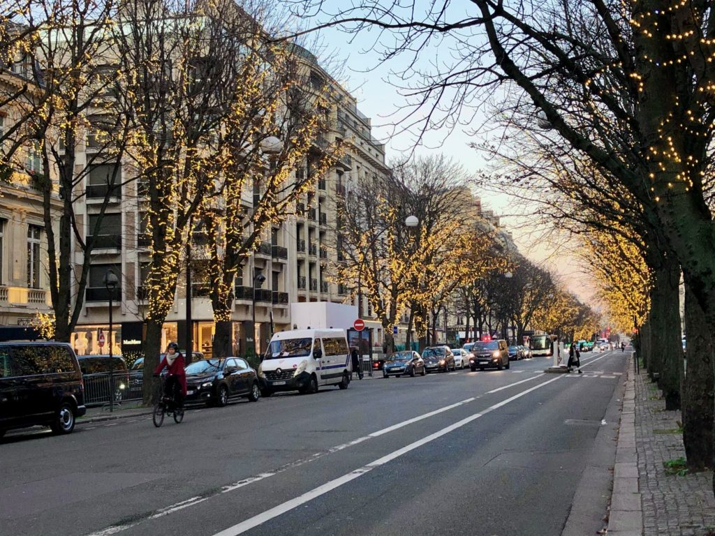 Avenue Montaigne, Christmas 2020, white lights in the trees lining the street