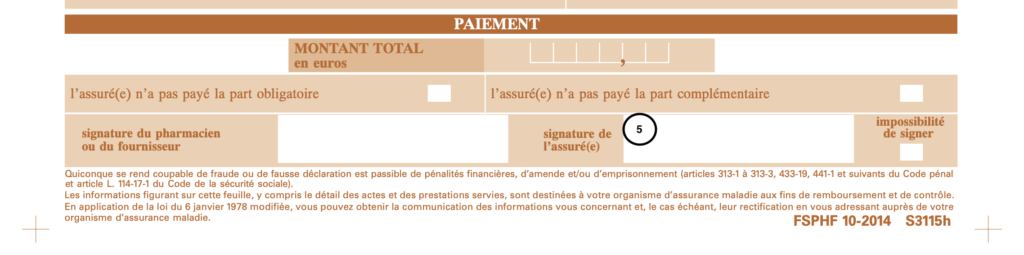 Feuille de soins bottom portion to fill out signature