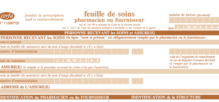 Feuille de soins top portion to fill out