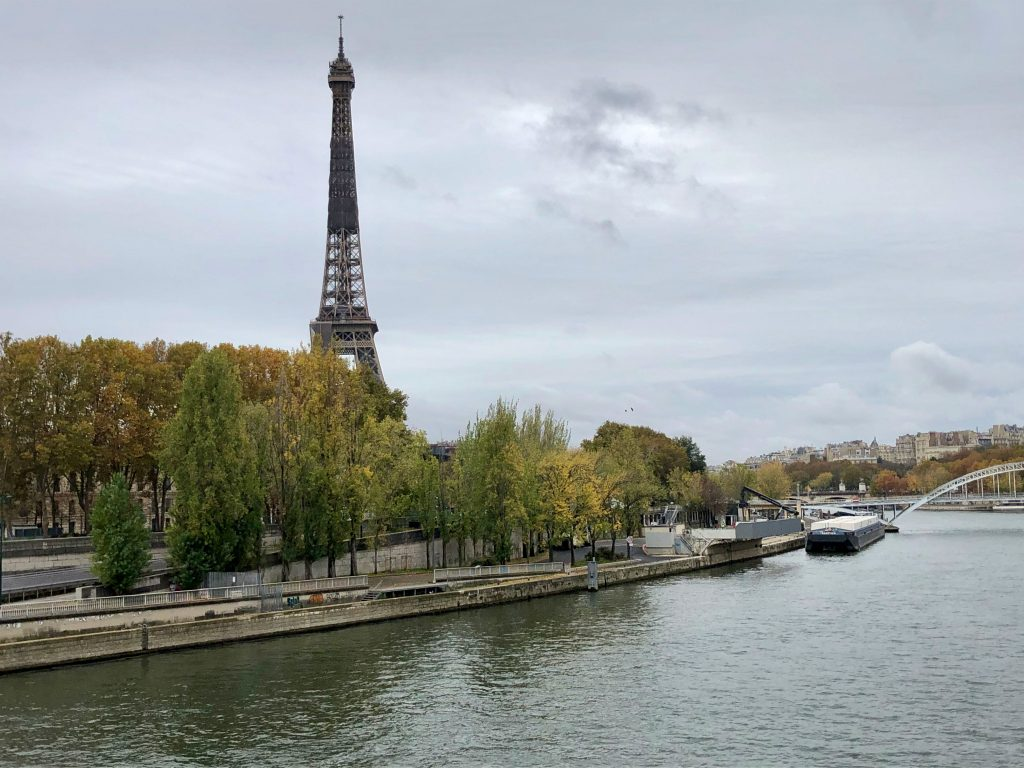 Eiffel Tower on a gray, overcast fall day in Paris