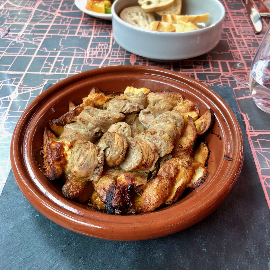 andouillette de Troyes, a local sausage served over potatoes