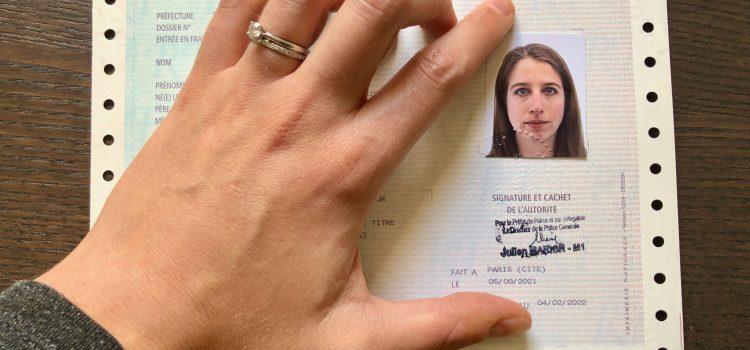 récépissé (paper receipt) for a French carte de séjour (residence permit)